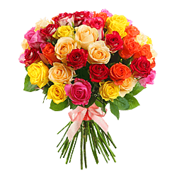 Bouquet of different color roses