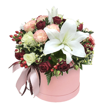 Roses and lilies in box