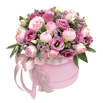 Peonies and lisianthus in box