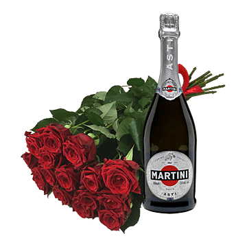 Bouquet of red roses and sekt