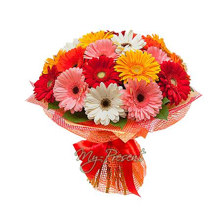 Bouquet of different color gerberas