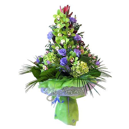 Bouquet of orchids, lisianthus, hydrangeas