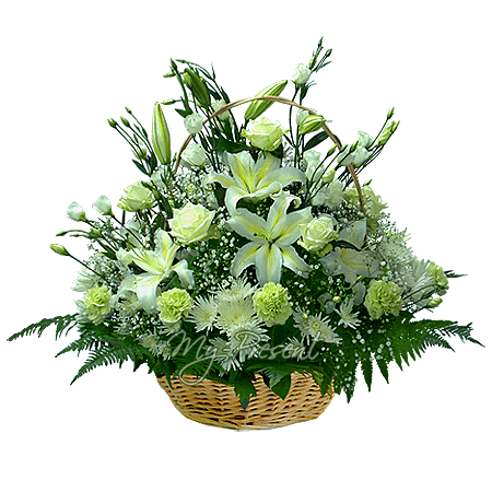 Basket with lilies, roses, lisianthus