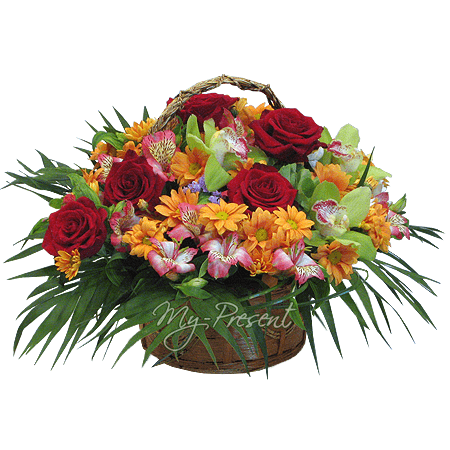 Basket with roses, alstromeries, orchids with verdure