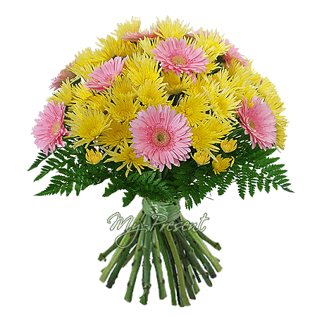 Bouquet of gerberas and chrysanthemums decorated verdure