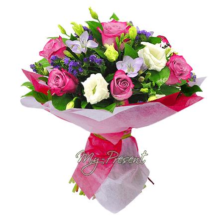 Bouquet of roses, lisianthus, freesias