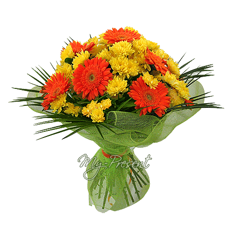 Bouquet of gerberas and chrysanthemums in Budapest