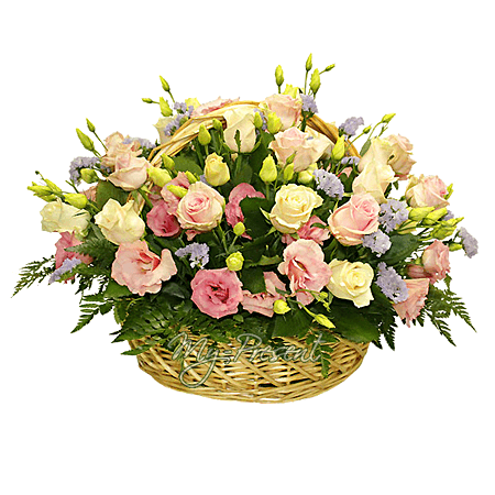 Basket with roses and lisianthus with verdure in Rostov-on-Don