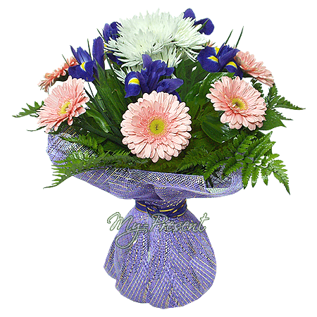 Bouquet of irises, gerberas and chrysanthemums decorated verdure