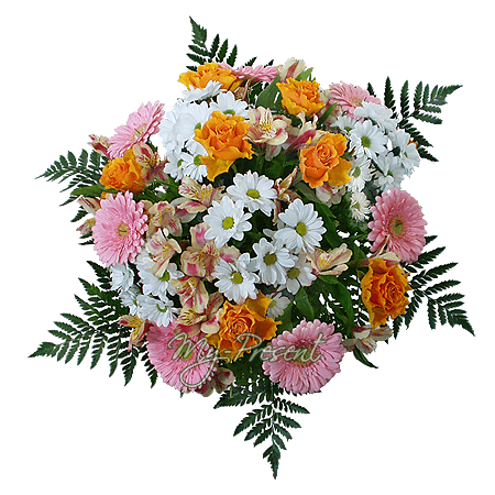 Bouquet of roses, gerberas and chrysanthemums decorated verdure in Omsk