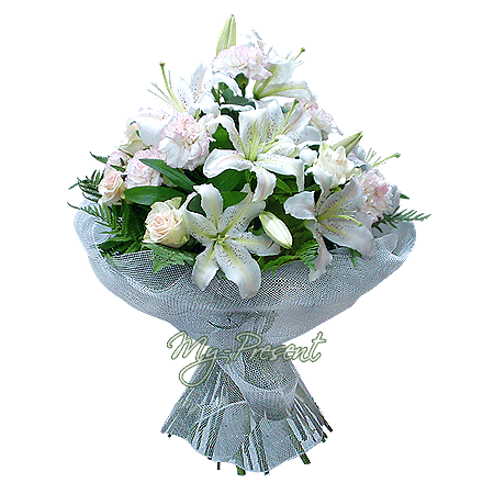 Bouquet of roses, lilies, carnations