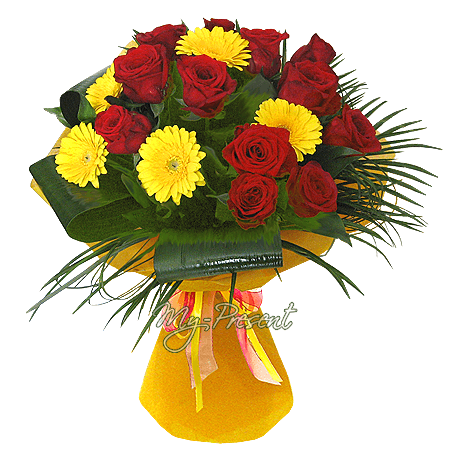 Bouquet of roses and gerberas decorated verdure in Tomsk