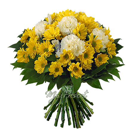 Bouquet of chrysanthemums and carnations