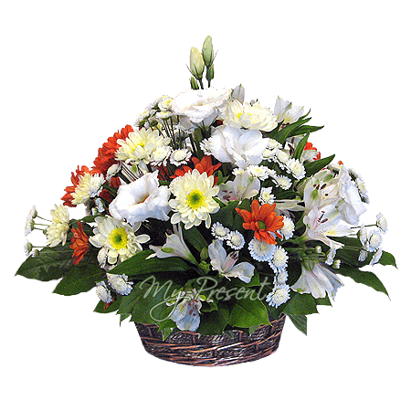 Basket with alstroemerias and chrysanthemums