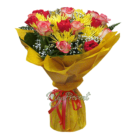 Bouquet of roses, tulips and chrysanthemums