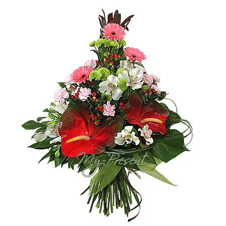 Bouquet of anthuriums, alstroemerias, gerberas