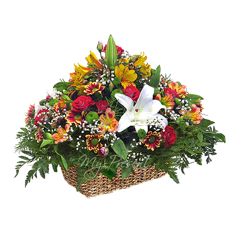 Basket with lilies, roses, alstromerien decorated with verdure