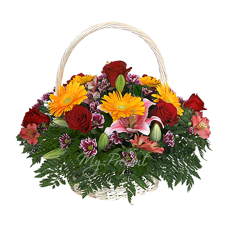 Basket with lilies, roses, alstromerien decorated with verdure in Kiev