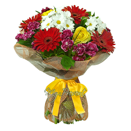 Bouquet of gerberas, chrysanthemums, roses in Astana