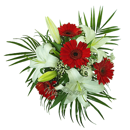 Bouquet of lilies and gerbers decorated with fern