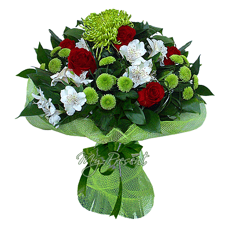 Bouquet of roses, alstroemerias and chrysanthemums in Kiev