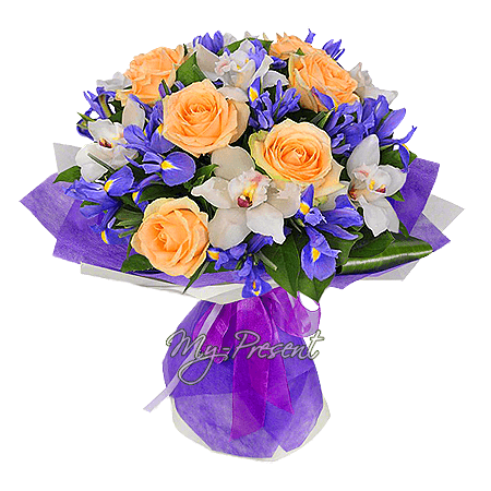 Bouquet of roses, orchids and irises in Prague