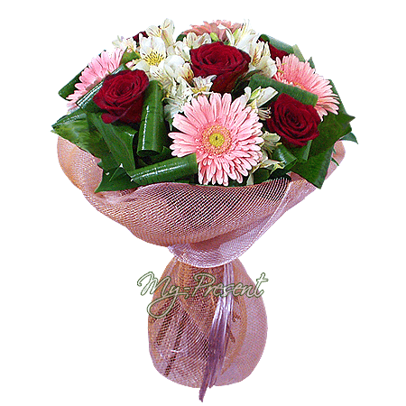 Bouquet of roses, gerberas and alstroemerias in Baku