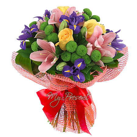 Bouquet of lilies, roses, chrysantemums