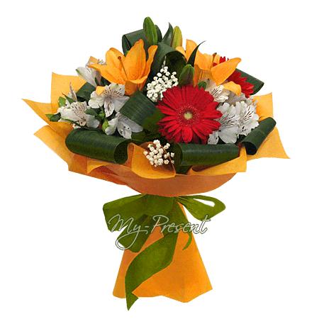 Bouquet of lilies, gerberas and alstroemerias