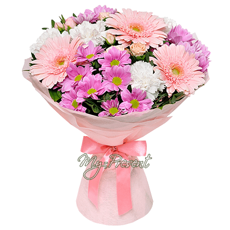 Bouquet of gerberas, carnations and chrysanthemums in Erevan