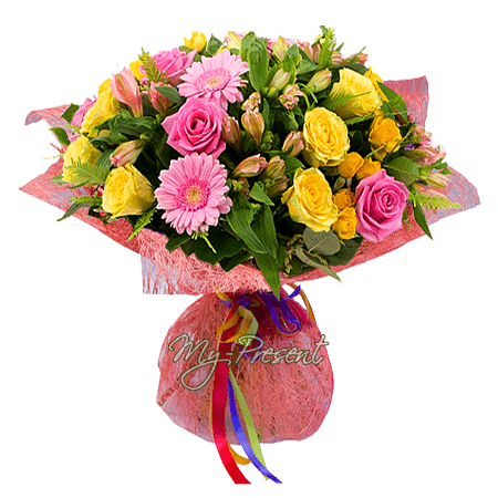 Bouquet of roses, alstroemerias, gerberas in Minsk