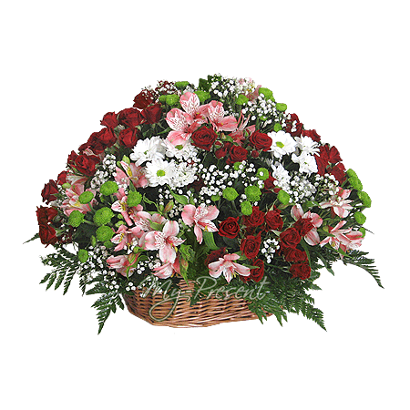 Basket with roses, chrysantemums and alstroemerias