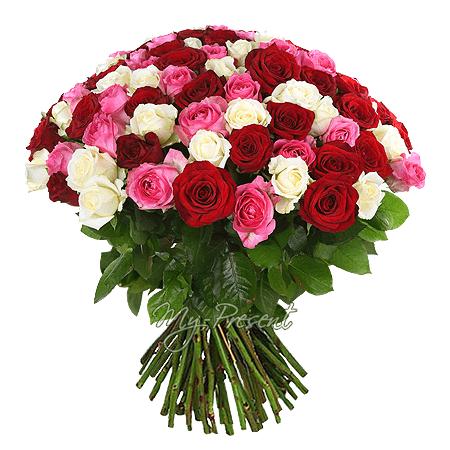 Bouquet of different color roses (50 cm.)