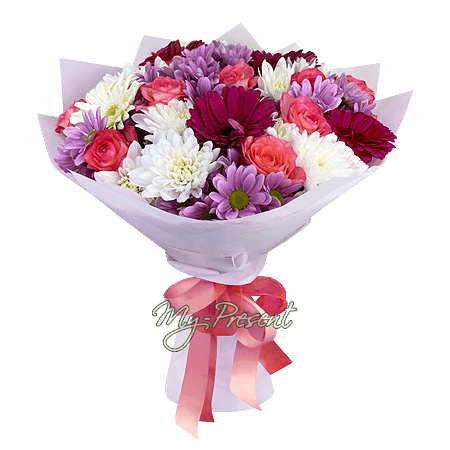Bouquet of lilies, roses, gerberas and chrysanthemums