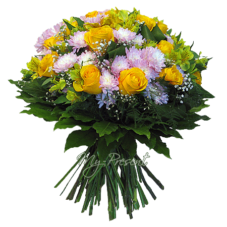 Bouquet of roses, alstromeries and chrysanthemums