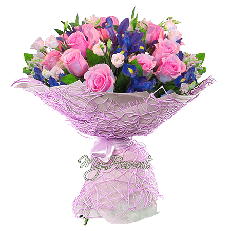 Bouquet of roses, irises and lisianthus