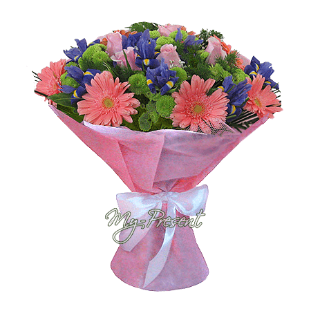 Bouquet of roses, gerberas, irises decorated verdure
