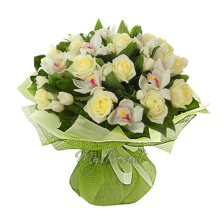 Bouquet of whit roses, orchidse and tulips in Amsterdam