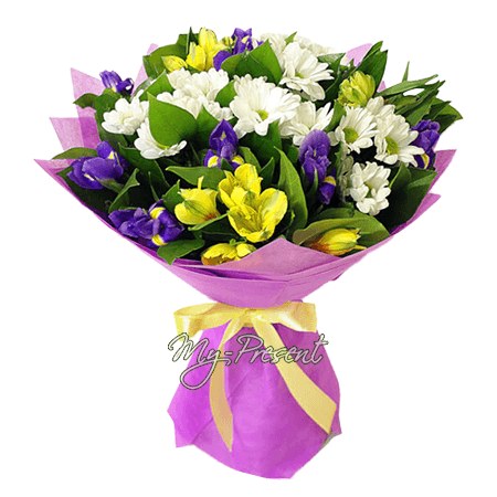 Bouquet of irises, alstroemerias and chrysanthemums