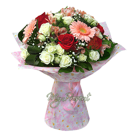 Bouquet of roses, alstromeries and gerberas
