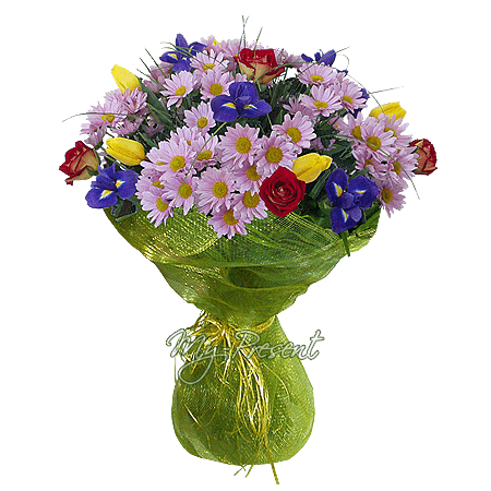 Bouquet of chrysanthemums, irises, roses decorated with verdure