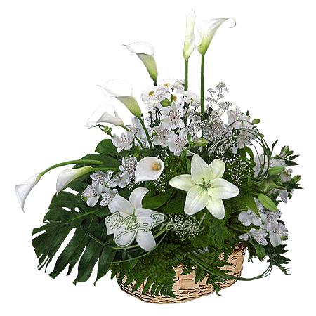 Basket with lilies, callas, alstroemerias
