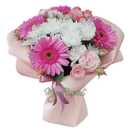 Bouquet of gerberas, chrysanthemums and shrub roses.