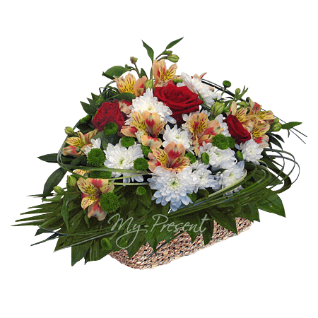 Basket with roses, alstroemerias and chrysanthemums in Voronezh