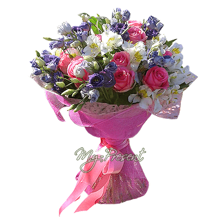 Bouquet of roses, lisianthus and alstroemerias
