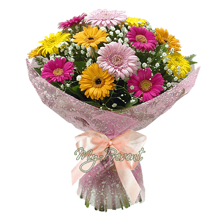 Bouquet of mini-gerberas decorated with verdure