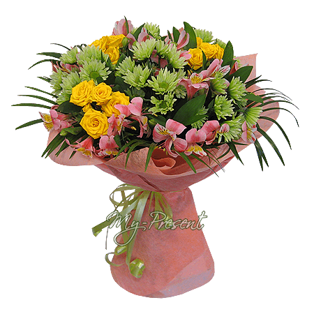 Bouquet of roses, chrysanthemums and alstroemerias