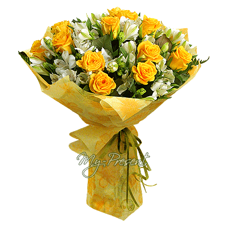 Bouquet of yellow roses and alstroemerias in Budapest