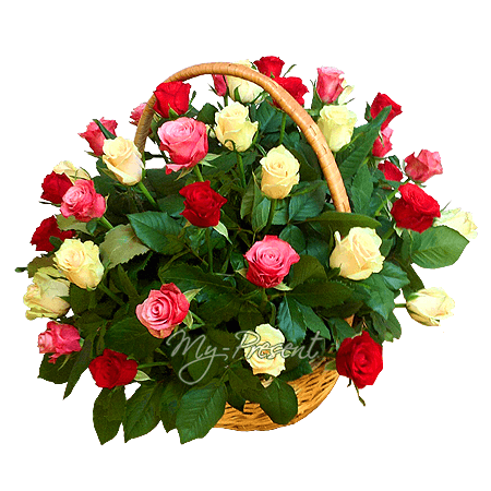 Basket with different color roses