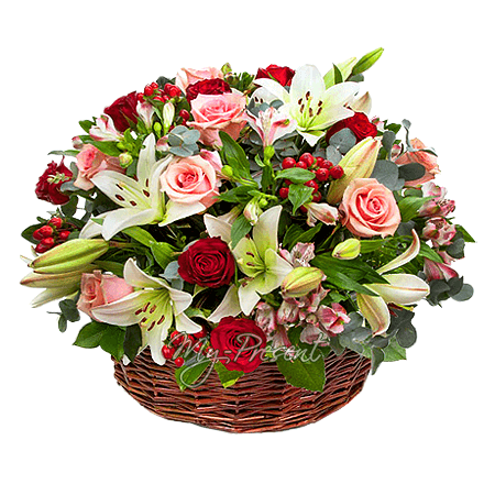 Basket with lilies, roses, alstroemerias